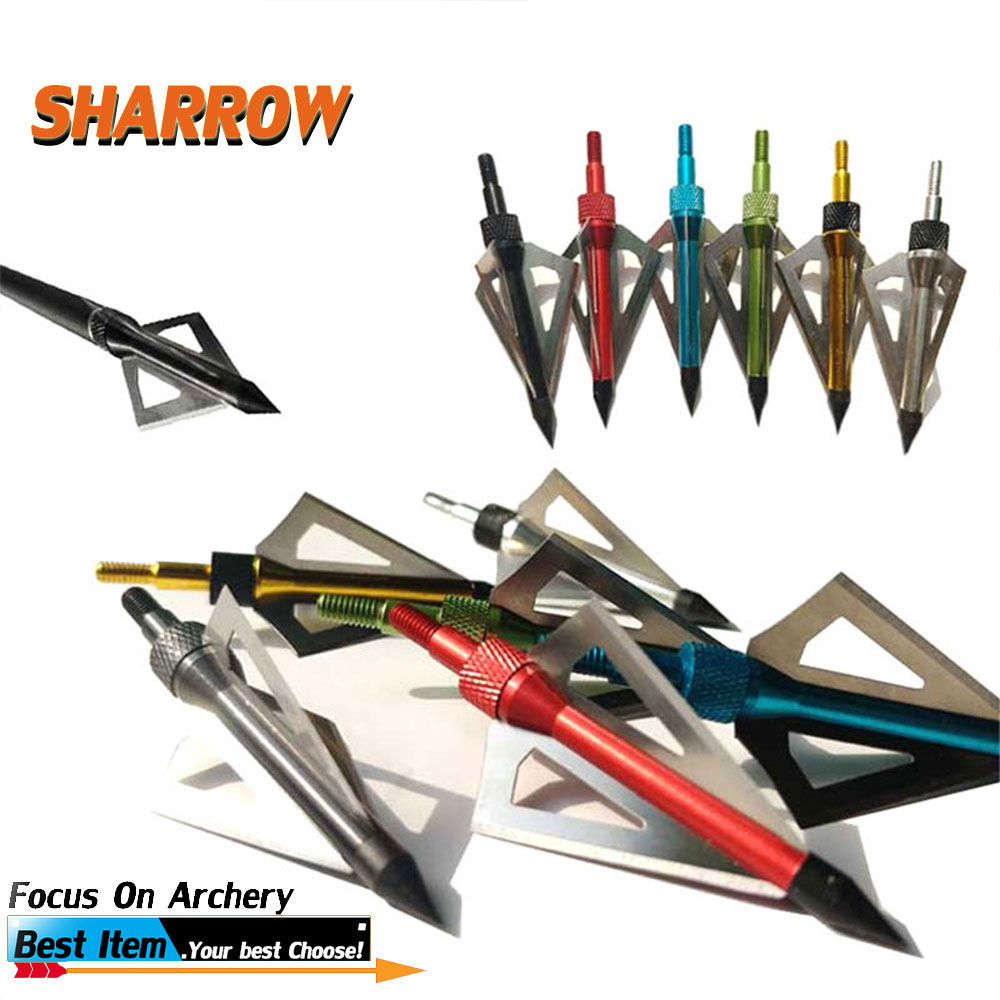 12 Pcs Hunting Arrow Tips 110 Grains Arrow Points Compound Bow Archery Arrowheads Blades Arrowhead Shooting 3 Fixed Blades C