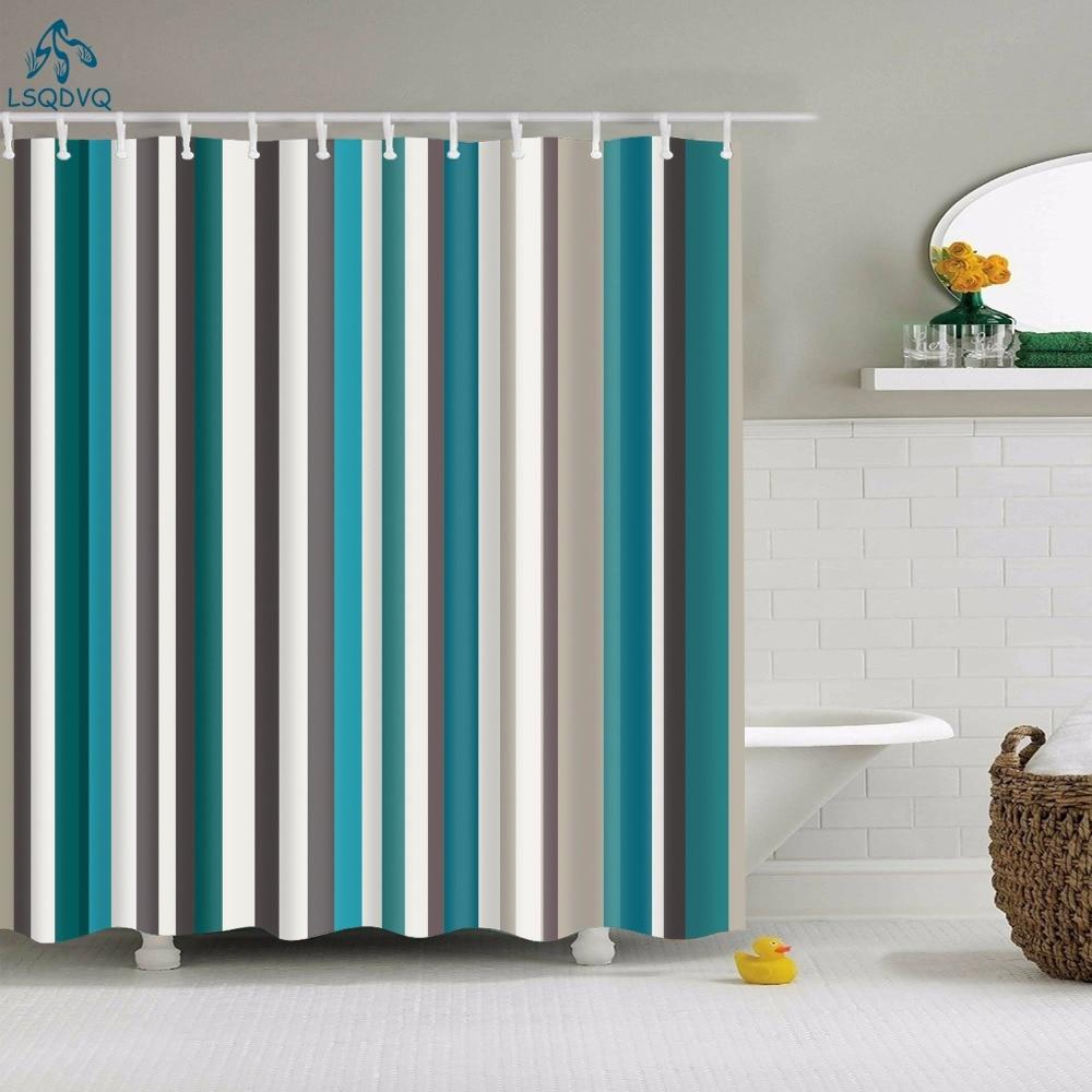 Декоративные геометрические душ Шторы волнистыми полосками Водонепроницаемый Ванна Шторы s для Ванная комната Ридо де