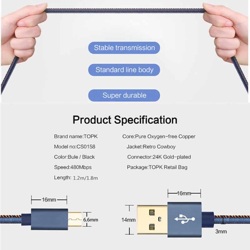 المصغّر USB كابل شاحن سامسونج غالاكسي S7 S6 شحن سريع شاحن الهاتف المحمول الحبل لهواوي شاومي اللوحي USB سلك كابل