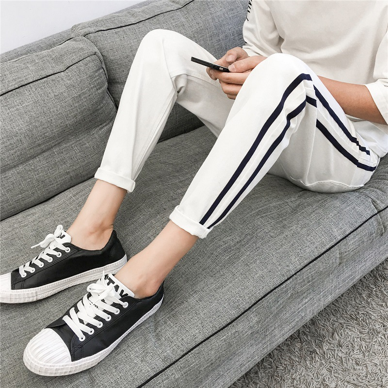 Hong Kong Style Korean-style Slim Fit Pants Capri Casual Pants Fashion Summer Popular Brand New Style Men's Trousers Autumn Thin