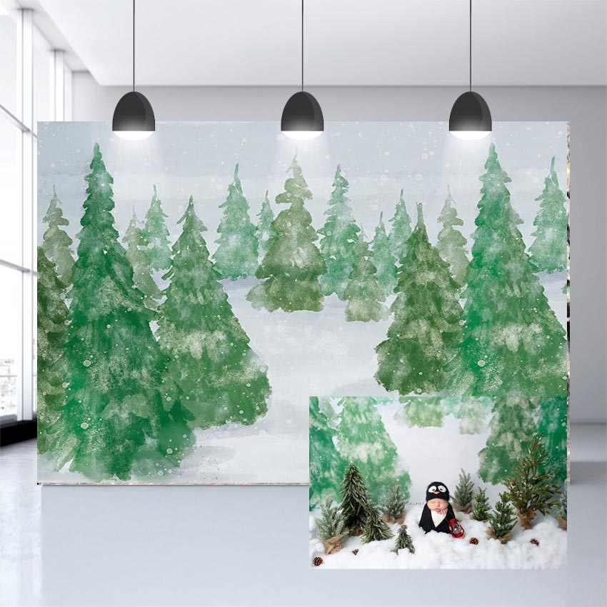 Vinyl fotografia tło zima dziecko boże narodzenie zielona choinka bożonarodzeniowa tło rekwizyty fotografia studio dostosowane photograp