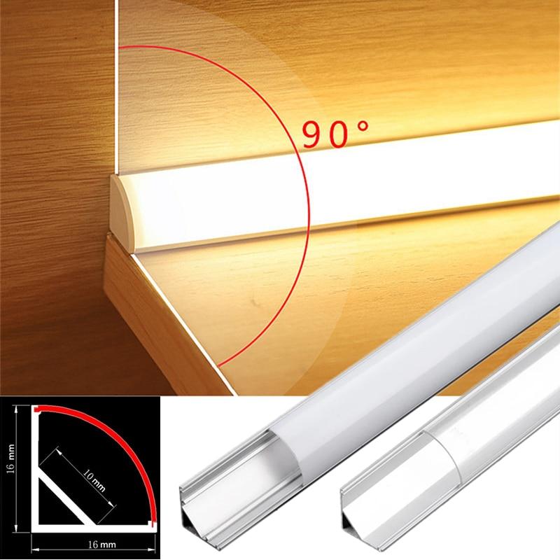 Для детей в возрасте 2-30 шт./лот 0,5 м/шт. V-Тип угловой алюминиевый профиль для 5050 3528 молочно-белый/прозрачный чехол со светодиодной барный шкаф...