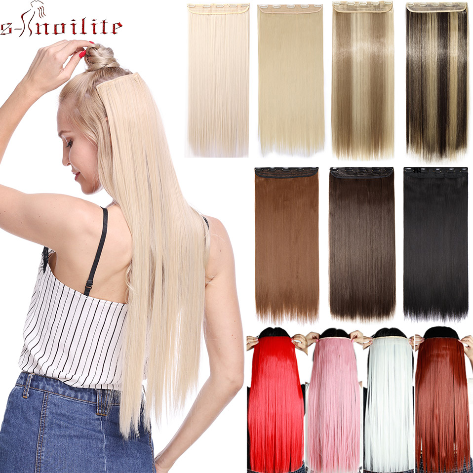 Snoilite Clip In Hair Extension Synthetic Hair 5 Clips In One Piece Clips Hair Heat Resistant HairPieces For Women Fake Hair