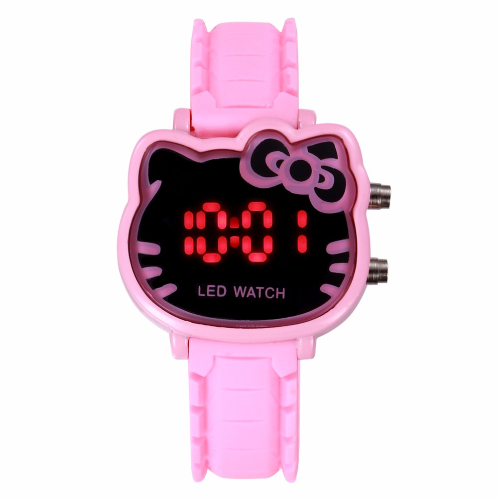 Children Cartoon Watch Cute Hello Kitty Shape Kids LED Digital Pink Electronic Watches Fashion Silicone Sport Clock Reloj