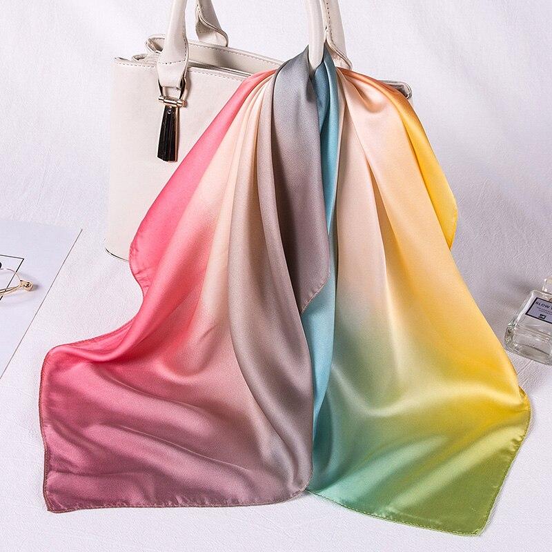 Women silk scarf square silk scarves NeckerChief satin kerchief for girls rainbow color printed fahsion neck hair scarfs(China)