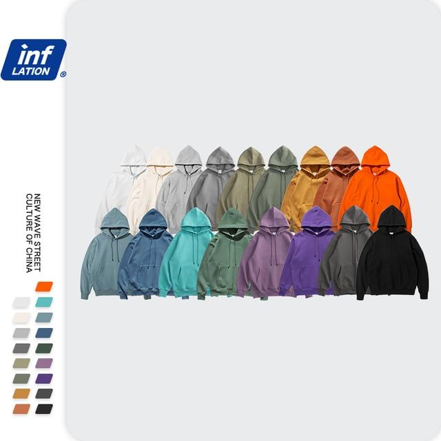 INFLATION 2021 Autumn Mens Thick Fleece Hoodies Hip Hop Pure Hoodies Thick Velvet Fabrics Winter Hoodies 167W17 6