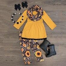 Платье с кисточками для маленьких девочек+ штаны с леопардовым принтом подсолнуха+ шарф наряды для маленьких девочек Одежда для девочек детская одежда