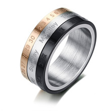 Vnox Rotatable 3 Part Roman Numerals Calendar Ring Men Jewelry Stainless Steel Cool Punk Spinner Male Bijoux Band with Date Time(China)