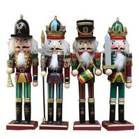 4Pcs 30CM Nutcracker Puppet Christmas Wooden Doll Child Gift Handcraft Guard Soldier Walnut Toy Ornaments Home Decoration