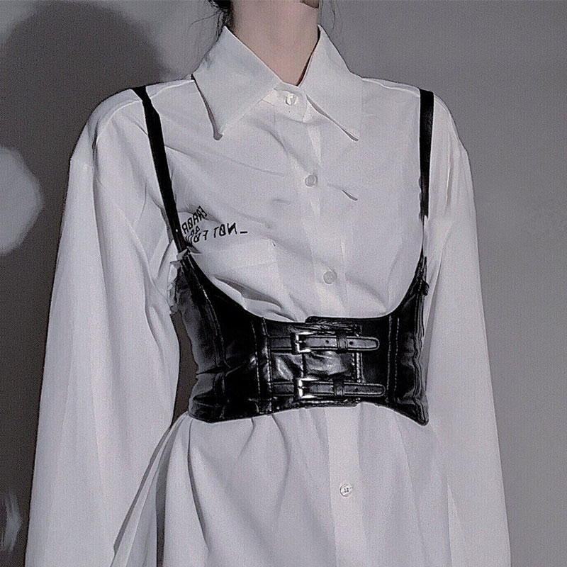 Punk Woman Width Cummerbund Straps Vest 2020 Fashion Street Hip Hop Fashion Black Belt Decoration