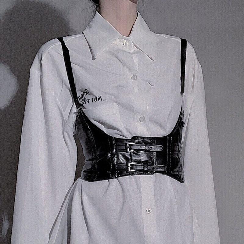 Punk Woman Width Cummerbund Straps Vest 2020 Fashion Street Hip Hop Fashion Black Belt Decoration
