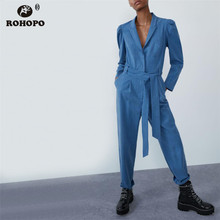 ROHOPO Sky Blue Long Sleeve Lantern Belted Jumpsuit Top Buttons Fly Notched Collar Solid Autumn Rompsuit #9345