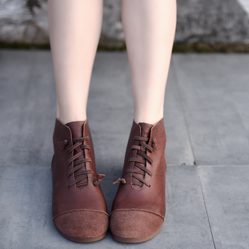 Artmu Original Genuine Leather Flat Bottom Women Boots Soft Sole Short Boots Spring and Autumn Handmade Comfortable Ankle Boots