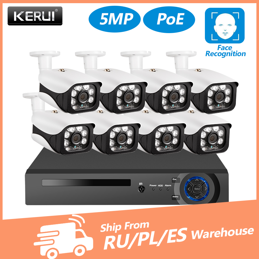 KERUI 8CH 5MP Wireless NVR POE Security Camera System Outdoor IR-CUT CCTV Video Surveillance Video Recorder Kit Face Record