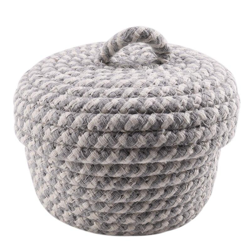 Cotton Woven Storage Basket with Lid, Home Storage Finishing Basket Debris Storage Box,Grayish White