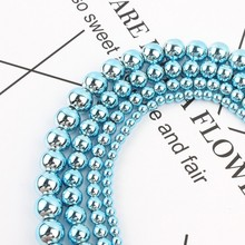 New Arrival Natural Stone Light Blue Hematite Round Beads 3 4 6 8 10 MM 15