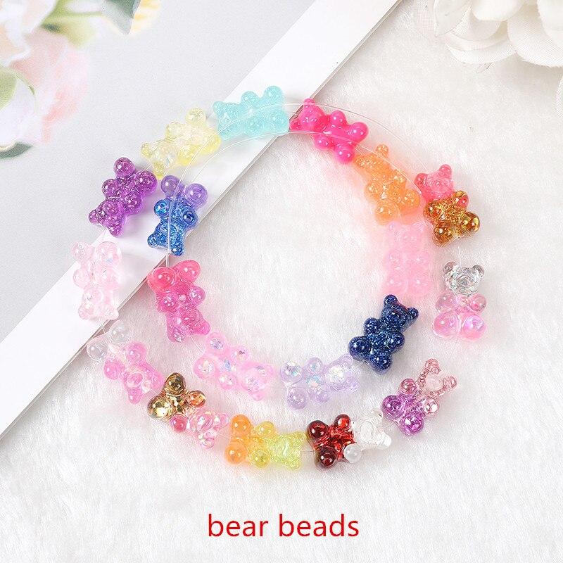 20 pçs 16*10mm gummy bear grânulos encantos flatback glitter resina artesanato com furo perfurado para colar pingente pulseiras diy|Encantos|   -