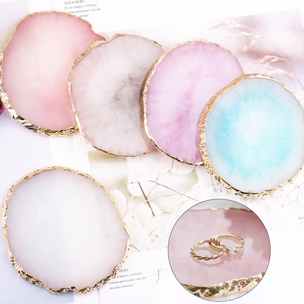 4 Colors Natural Resin Agate Nail Nail Art Gel Polish Color Palette Drawing Nail Art Color Nail Display For Nail Art Tools
