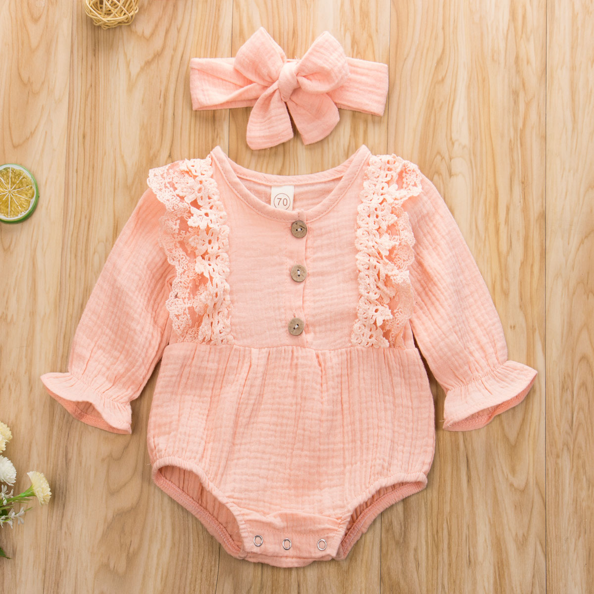 Pudcoco Newborn Baby Girl Clothes Solid Color Lace Ruffle Long Sleeve Kinnted Cotton Romper Jumpsuit Headband 2Pcs Outfits Set