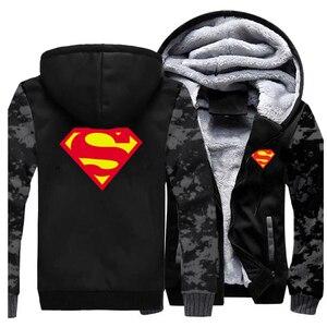 Image 5 - 2019 kış erkek Hoodies Superman kazak kaliteli polar sıcak Streetwear erkek ceket sıcak satış kalın ceket rahat erkek giyim