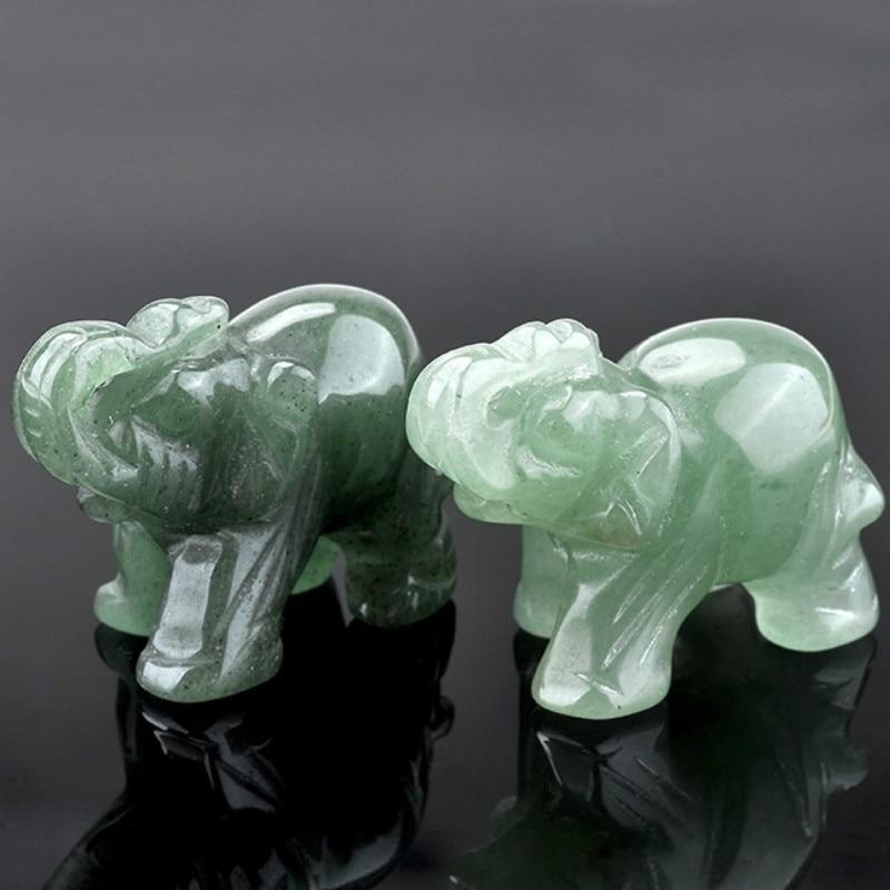 Green Aventurine Jade Ston Lucky Elephant Fortune Feng Shui Statue Figurine Office Ornament Chakra Healing Stones Statue Decor