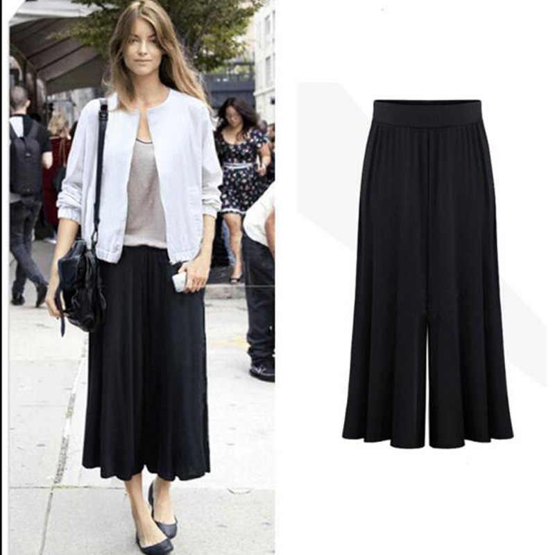 Clobee 2020 artı boyutu XL-6XL yaz kadın giyim geniş bacak gevşek takım elbise pantalonları kadın etek pantolon kapriler Culottes Pantalon