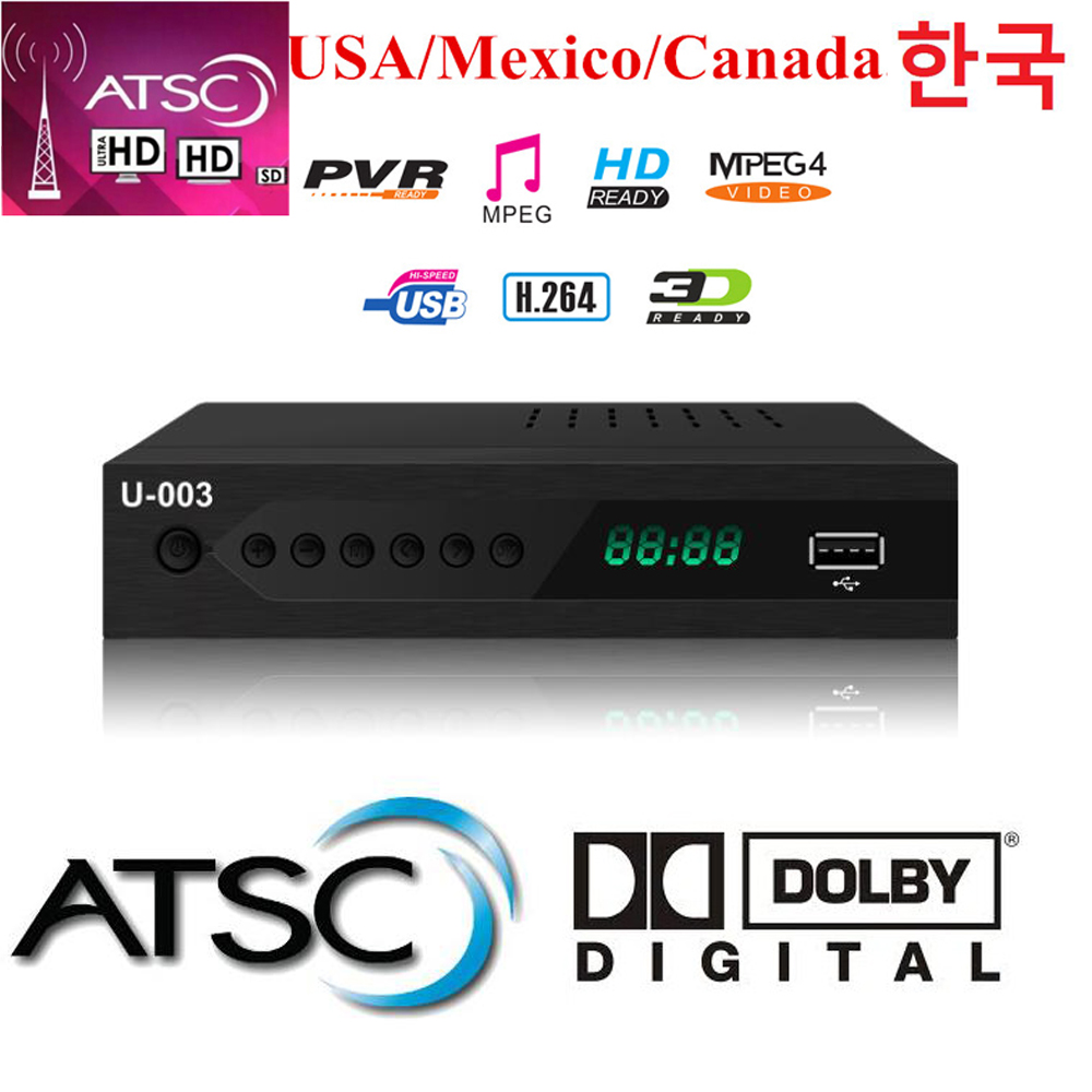 2019 Hot Sale USA Mexico Canada Atsc-t Terrestrial Digital TV Receiver FTA Tv Tuner Atsc Tv Box Dolby Ac3 Atsc Digital Broadcast