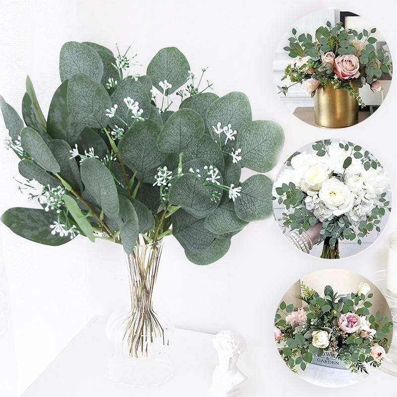 5pcs Artificial Plants Green Eucalyptus Leaves DIY Bridal Bouquet Fake Flowers For Home Garden Party Wedding Flower Decorations