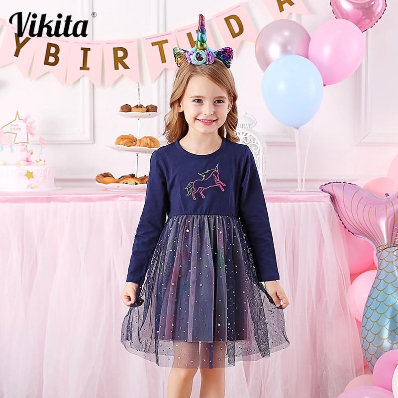 VIKITA Girls Unicorn Dress Princess Tutu Dress for Girls Children Birthday Party Licorne Vestidos Kids Autumn Winter Dresses