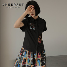 CHEERART Batwing Short Sleeve Woman Blouses Shirts Black Col