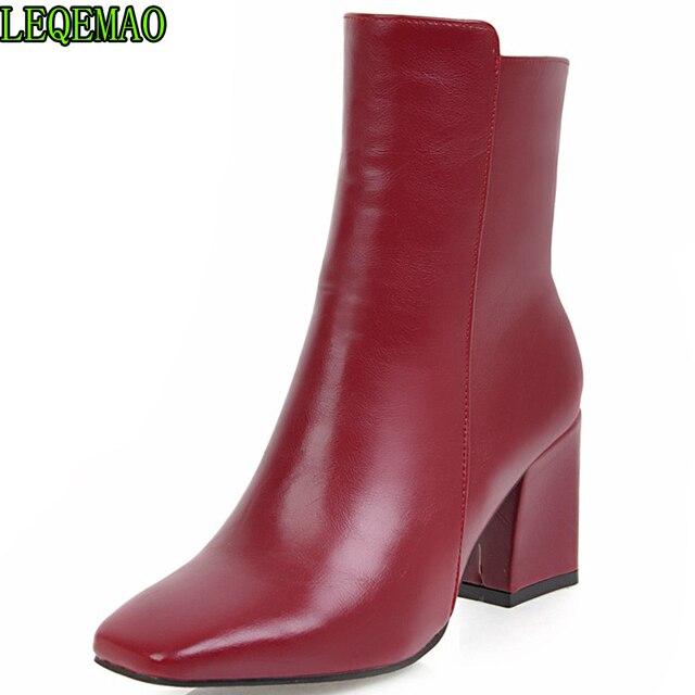 2019 vrouwen kant rits Martin laarzen comfortabele mid hak enkellaars mode warme winter schoenen zwart rood wit vrouwen laarzen
