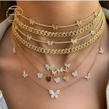 Luxury 18K Gold Plated Cubic Zirconia Blingbling Butterfly Necklaces For Women Full Crystal Butterfly Choker Necklace In Gold