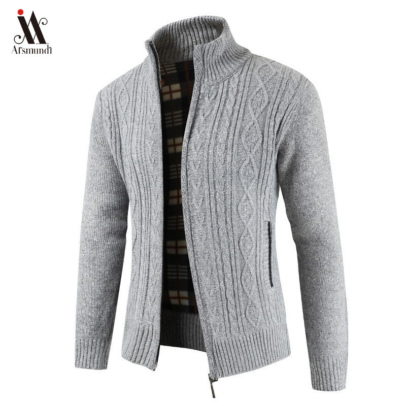 2020  Brand New Fashion Thick Sweaters Cardigan Coat Men Slim Fit Jumpers Knit Zipper Warm Winter Business Style Men Clothes