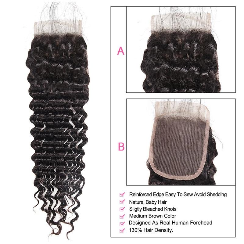 Meetu Deep Wave Bundles with Closure Brazilian Hair Weave Bundles with Closure 100% Human Hair Bundles with Closure Non Remy