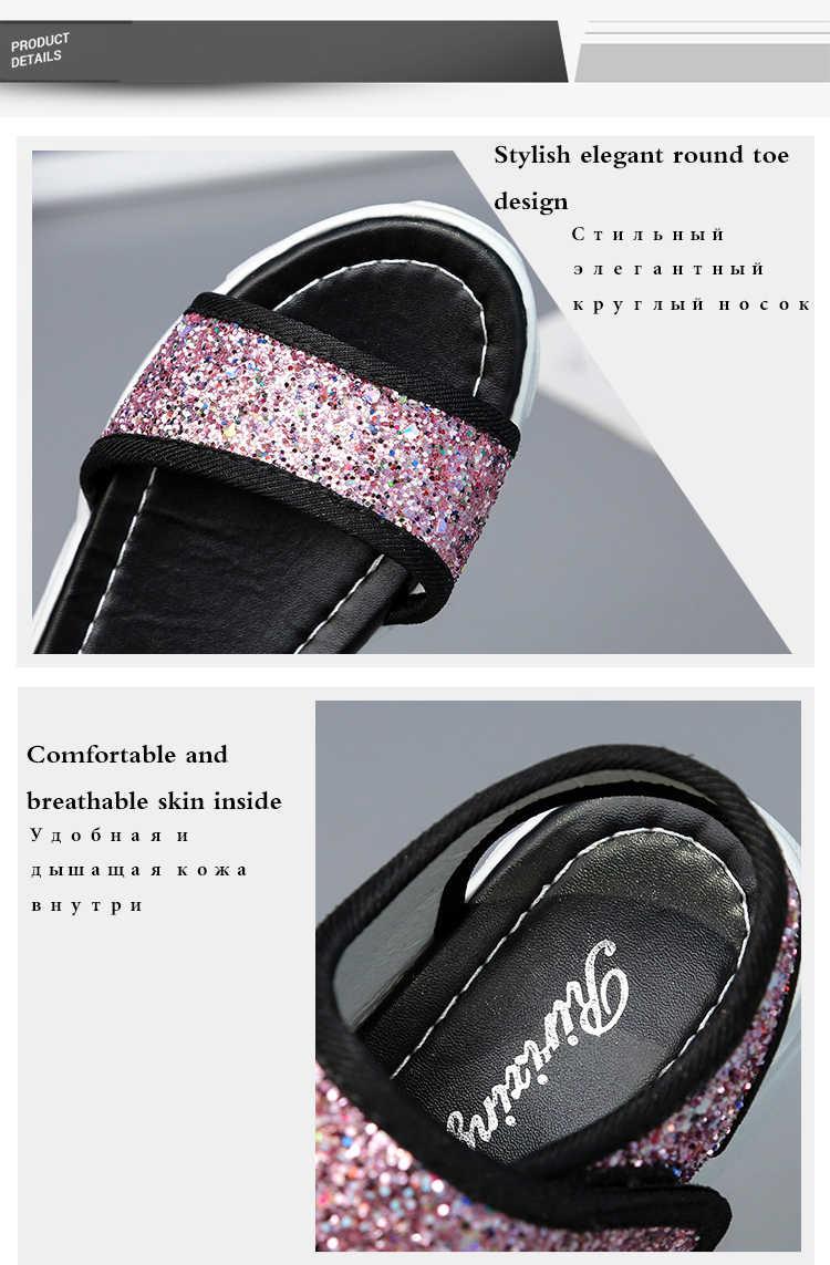 TUINANLE/сандалии на плоской подошве; Новинка; Расшитая блестками Тканевая обувь на блочном каблуке; Модель 2020 года; Летняя женская обувь; Шикарные босоножки на платформе; Обувь для стриптиза серебристого цвета