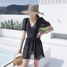 Women Swimwear 2021 Swimsuit One Piece Large Size Sexy Summer Black Sling Cover Hot Bathing Suit Female At Skirt Back New Print