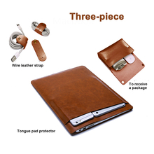Leather Laptop Sleeve for Macbook Pro 16 Case Storage bag three piece Double Layer Leather Liner Bag for macbook pro 16 sleeve