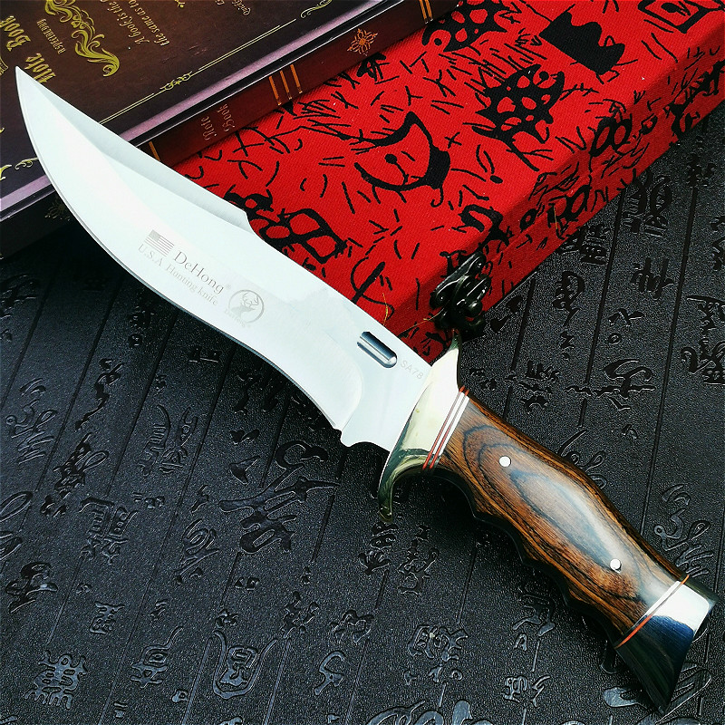 U S A      DEHONG        SA78 high-end enhanced hunting straight blade rescue knife camping straight blade Mirror light  tactical knife