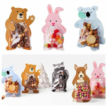 50pcs Creative Cute Cartoon Animal Cellophane Cello Bags for Bakery Birthday Party Cookie Candy Gift Sealed with Cardboard