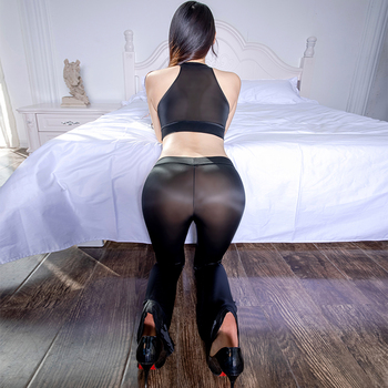 Thin Transparent Soft Silky Elastic Pants Porn Hollow Chest Tops Set Erotic Club Allure Costume Sexy See Through Glossy Leggings 1