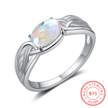 Vintage 925 Sterling Silver Rainbow Moonstone Ring for Women Female Finger Ring Silver 925 Jewelry Exquisite GIft for Girlfriend