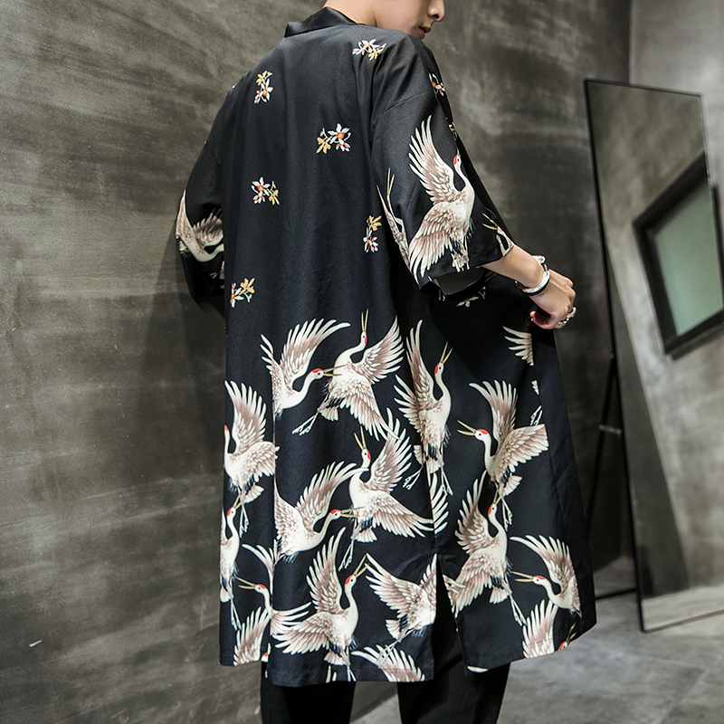 2019 Samurai Crane Japanese Style Kimono Men Traditional Yukata Haori Kimono Japanese Kimono Mujer Japanese Streetwear