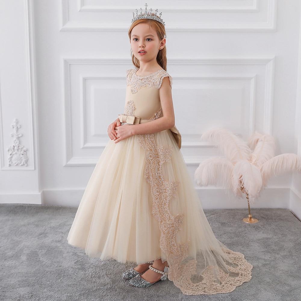Летнее платье 2020 года Детские платья подружки невесты для девочек, детские длинные белые кружевные платья принцессы для девочек, вечерние п...