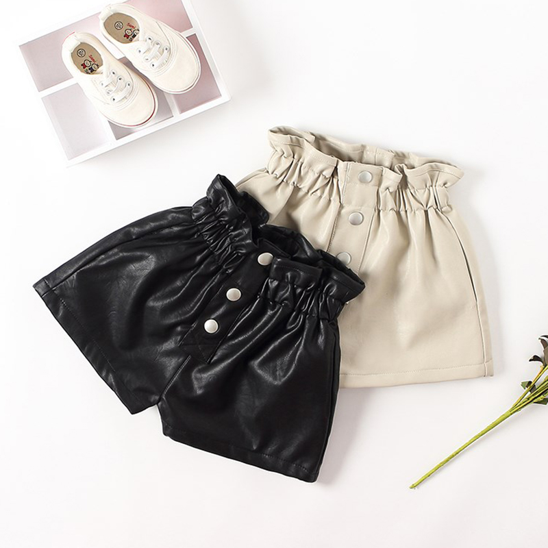 2019 New Autumn Winter  Kids  Faux Leather Shorts For Girls Baby Girl Short Princess Jeans Children Short Pants  6 8 10 12 Years