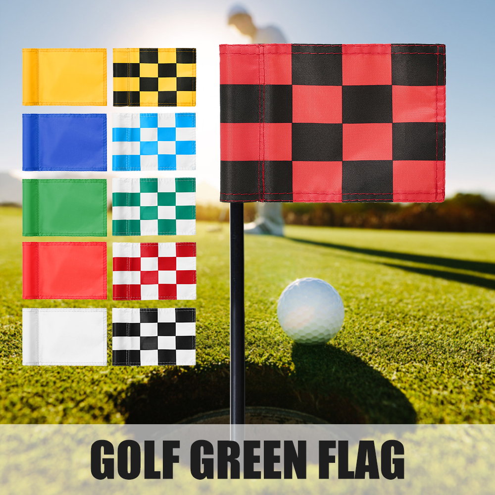 Golf Green Flag Practice Putting Training Green Flag Nylon Golf Flag Pure Color Checkered Golf Target Flags Wear-resistant