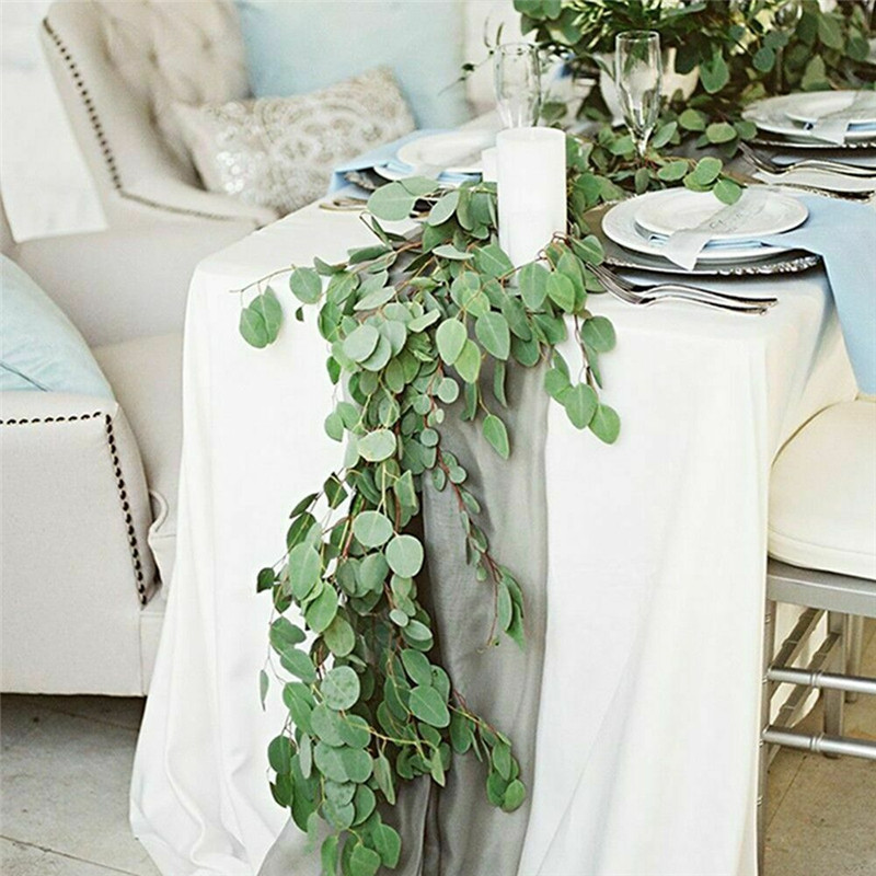 Artificial Eucalyptus Willow Leaves Garland Vine Wedding Greenery Home Decor Outdoor Party Table Wall Green Leaves Decoration