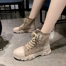 2019 Fashion Women Martin Boots Platform Lace Up Patchwork Thick Sole Round Toe Black Beige Boots Women black patchwork plain toe lace up derbies
