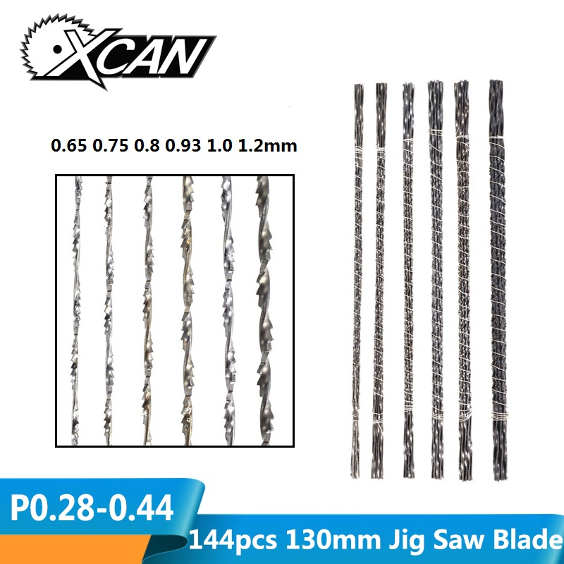 XCAN 144pcs 130mm Scroll Saw Blades Spiral Teeth Wire Saw Blades For Cutting Jewelry Metal Jig Saw Blades