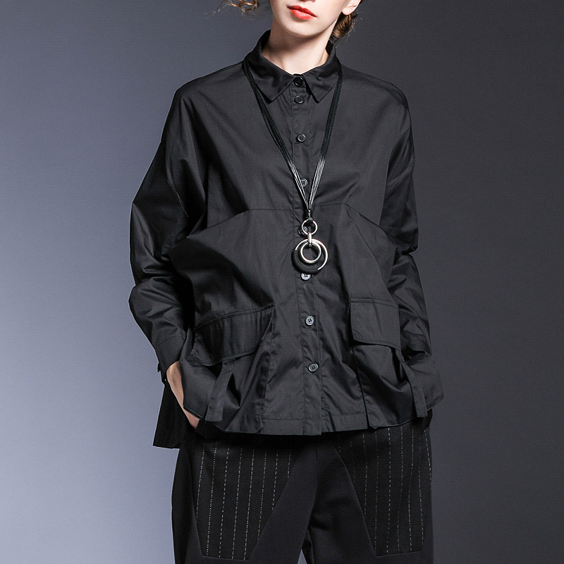 New Fashion Style Pocket Spliced Oversize Irregular Blouse Fashion Nova Clothing