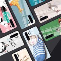 Mignon Chat Chien Téléphone etui téléphone huawei P30 P20 Lite Mate 20 Lite P smart Z Nova 3 En Verre Trempé Brillant Pour Honor 9 10 Lite 8X